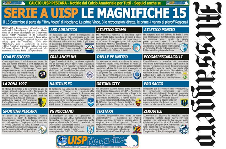UISP IN EDICOLA | Mercoledì 15 Agosto la Mezza Pagina UISP n°55