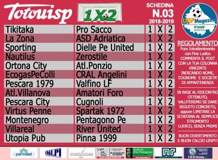 TOTOUISP 1×2 | Gioca GRATIS la Schedina n.03 (edizione 18-19)