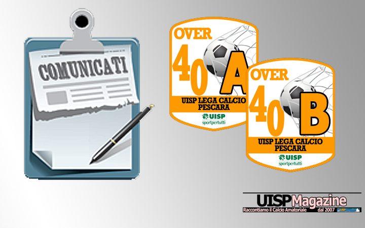 UISP CALCIO PESCARA | Pubblicato il Comunicato OVER40 n.08 | Stagione 18-19