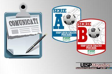 UISP CALCIO PESCARA | Pubblicato il Comunicato SENIOR n.21-BIS | Stagione 18-19
