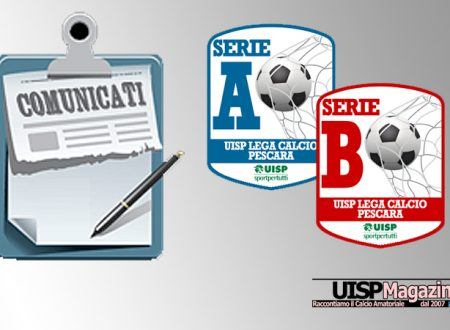 UISP CALCIO PESCARA | Pubblicato il Comunicato SENIOR n.17 | Stagione 18-19