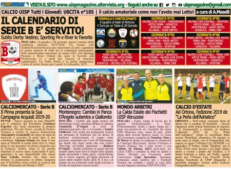 UISP IN EDICOLA | Giovedì 08 Agosto la Mezza Pagina UISP n°105 con Il Messaggero
